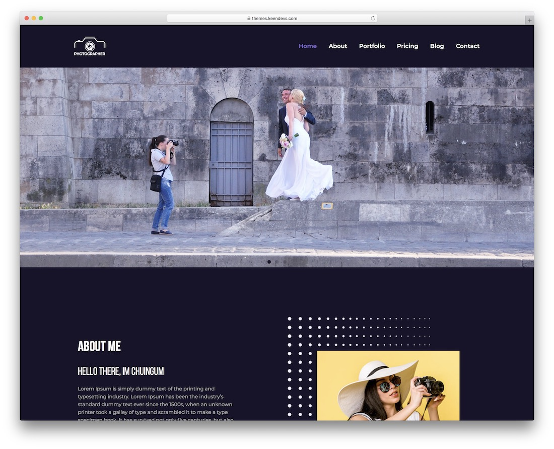 keenshot free photography wordpress theme
