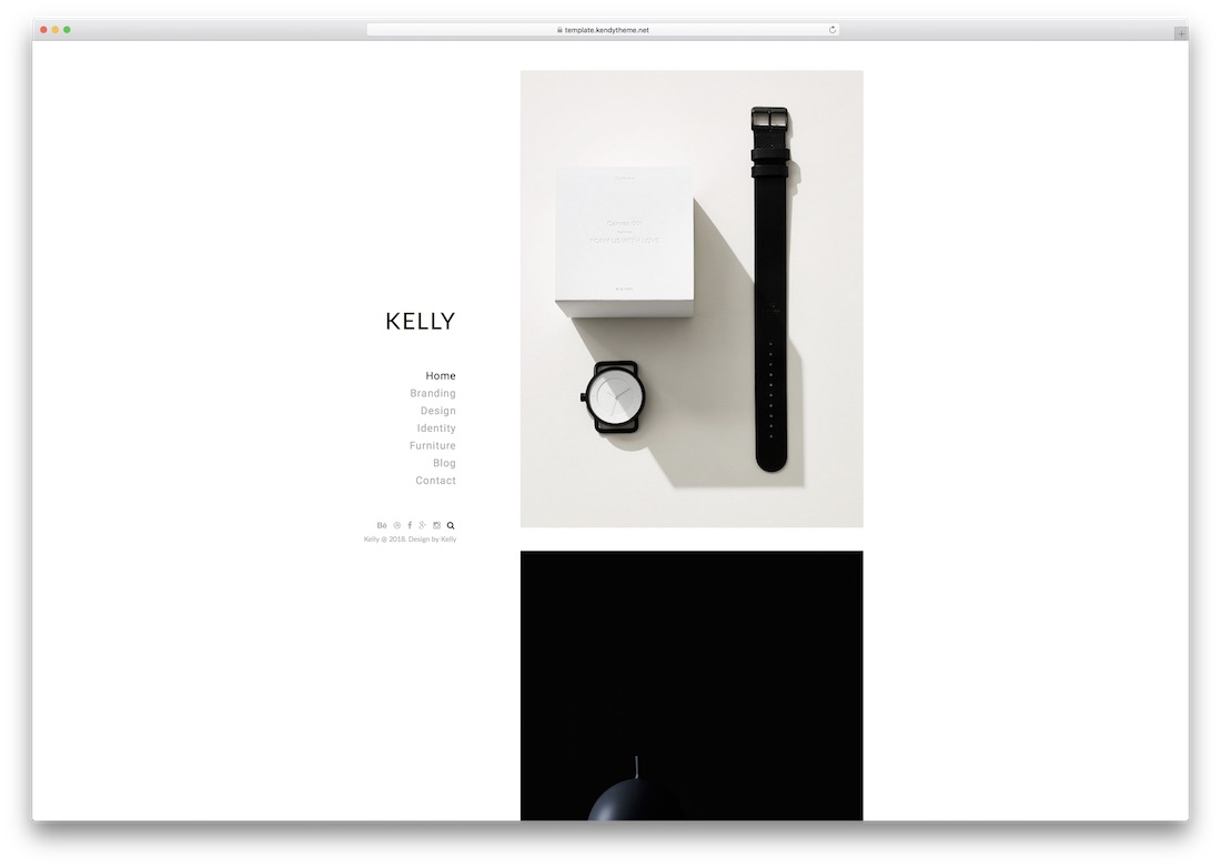 kelly minimal photography website template
