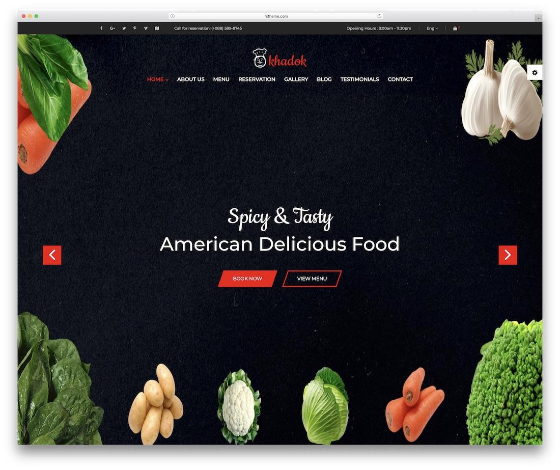 khadok restaurant food website template