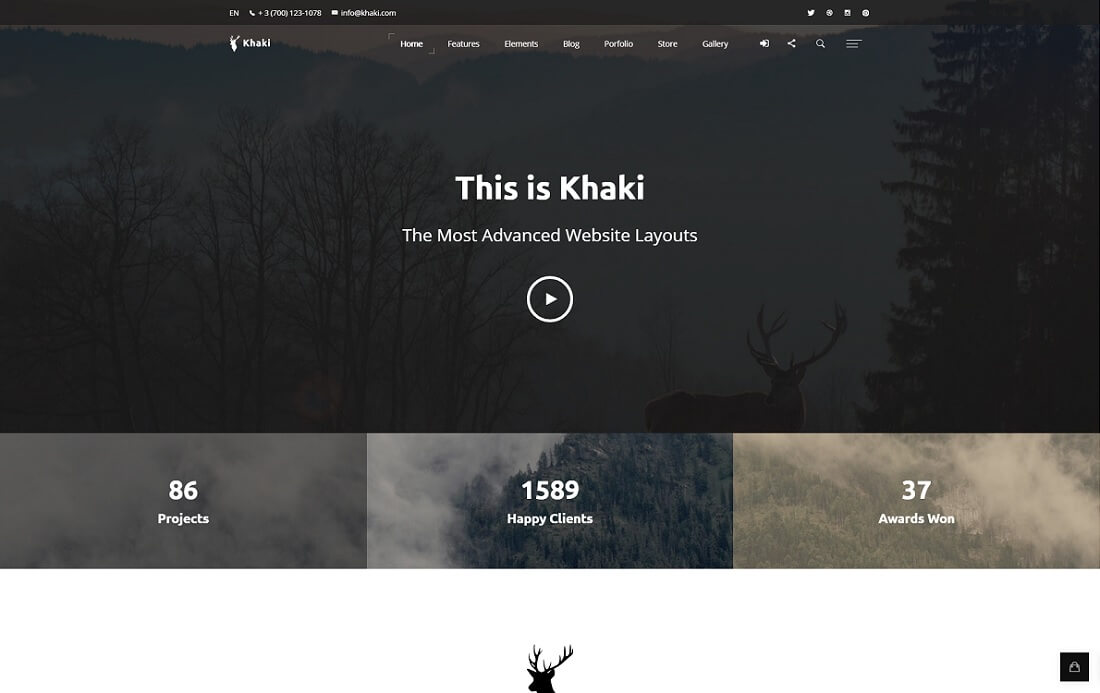 khaki bootstrap business website template