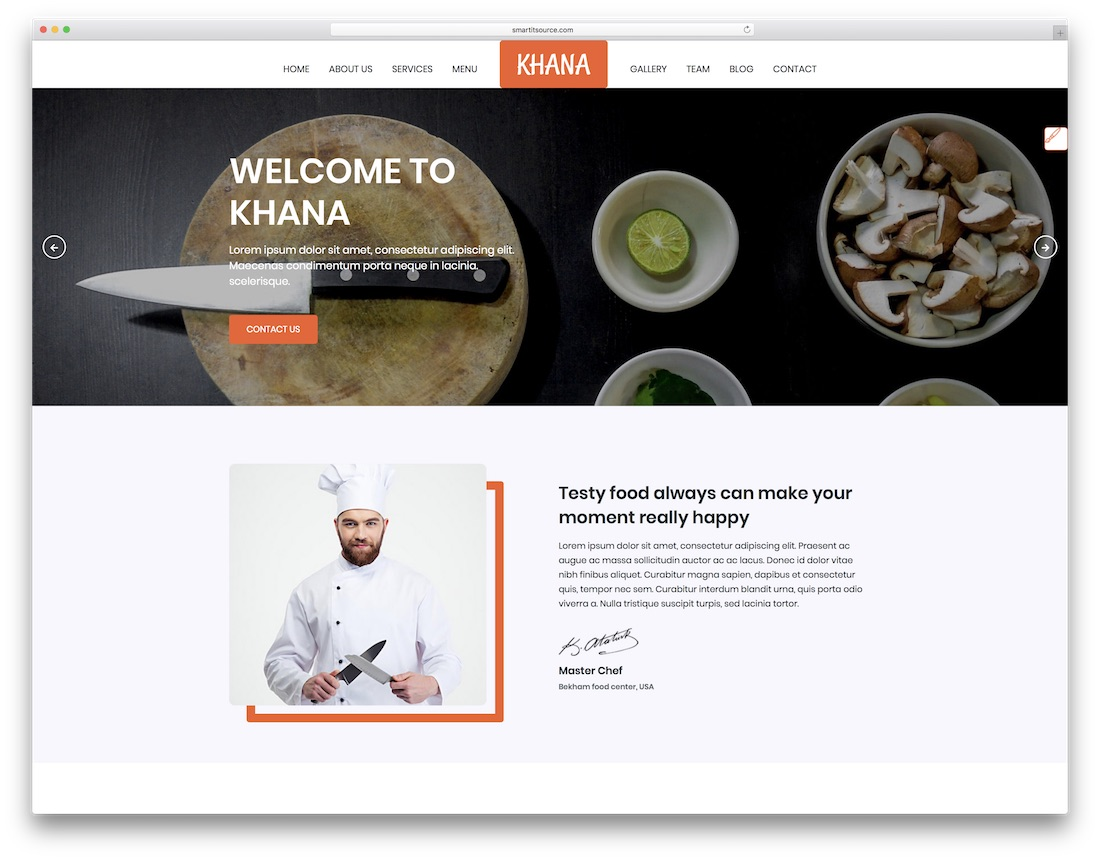 khana html5 restaurant website template