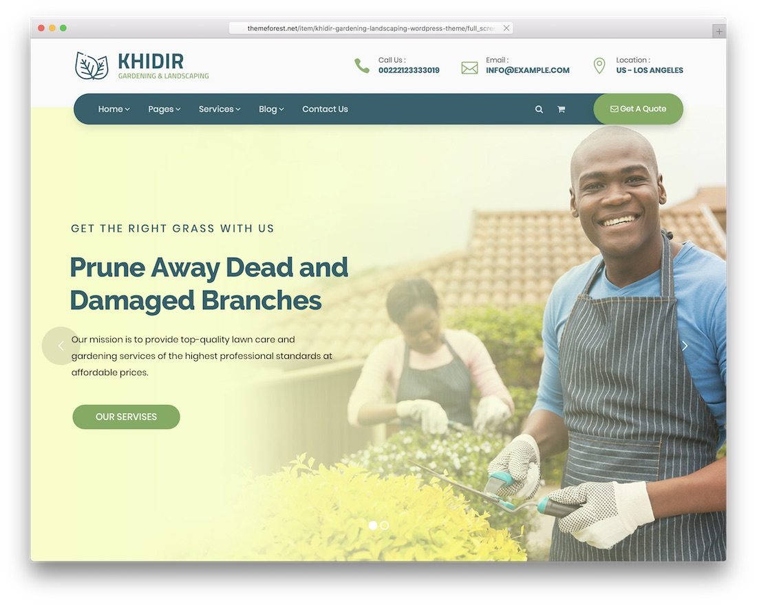 khidir gardening and landscaping wordpress theme