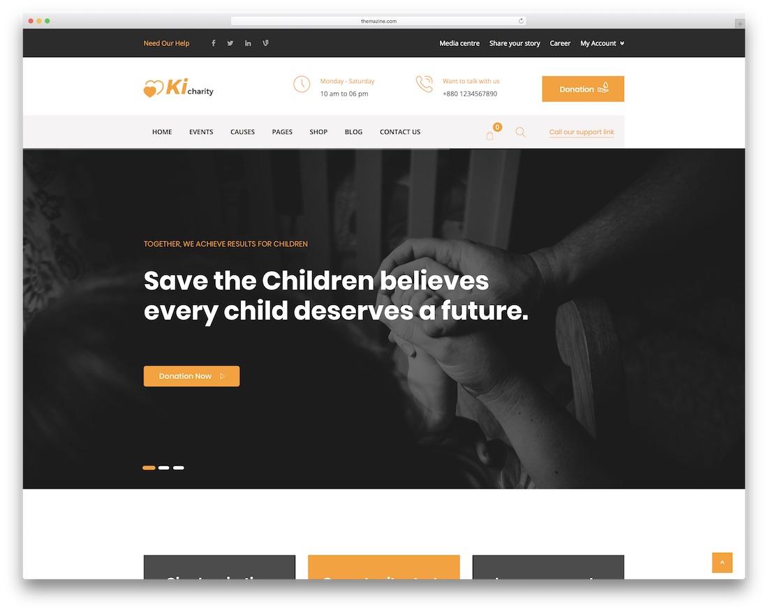 kicharity website template