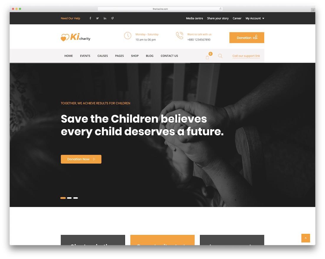 kicharity website template