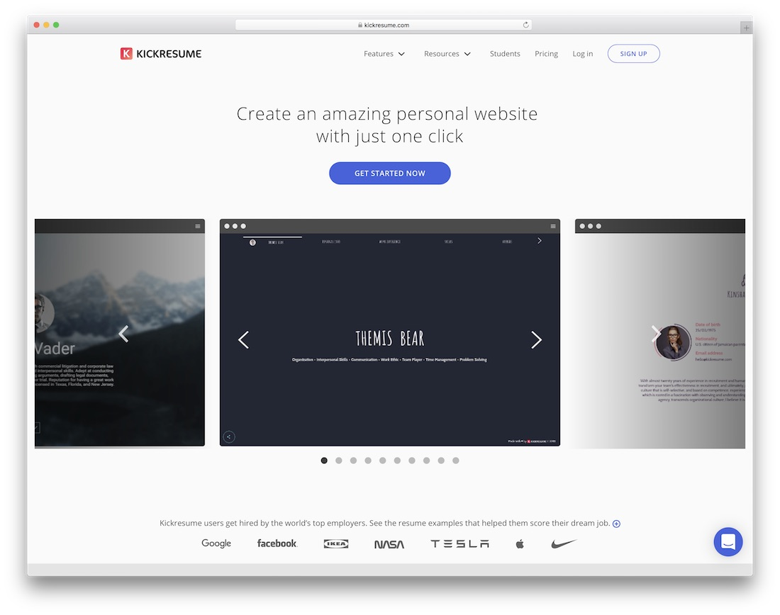 kickresume personal website builder