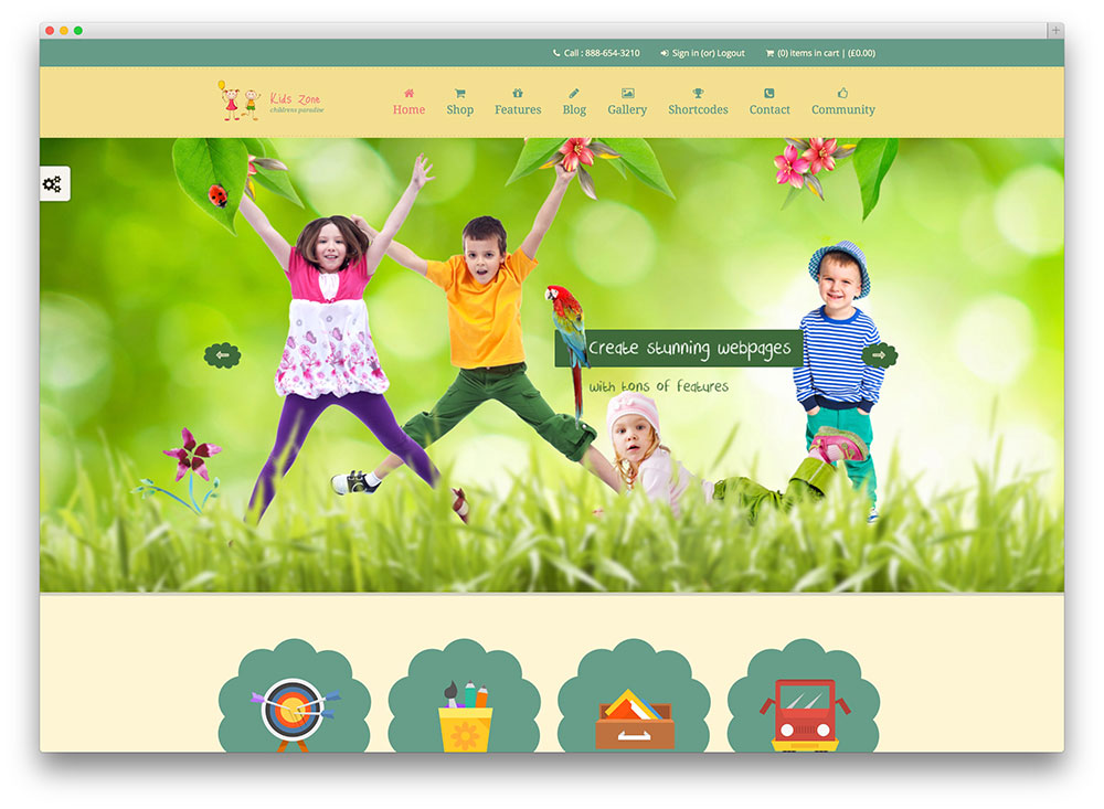 kids zone - children education theme