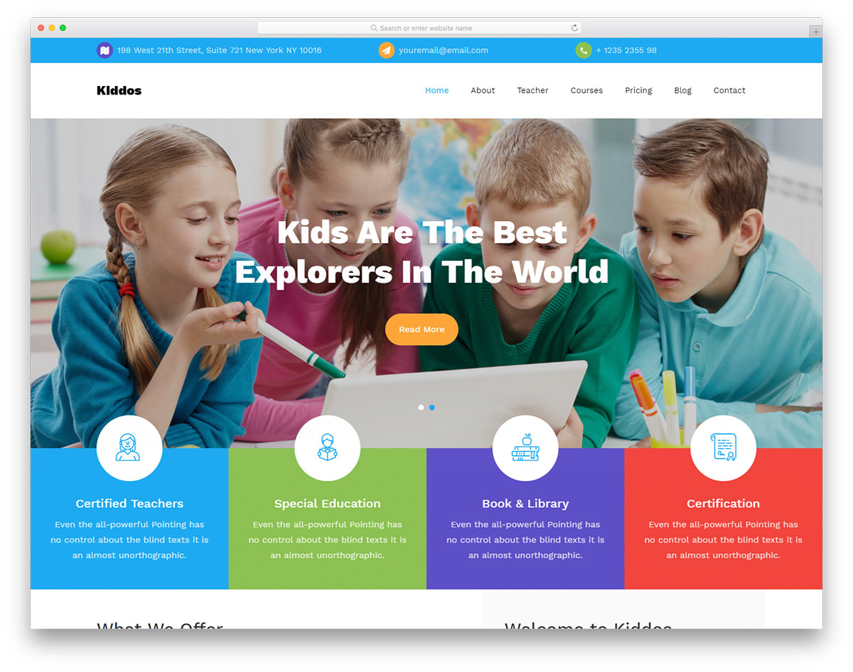 kiddos - free primary school website template 2019