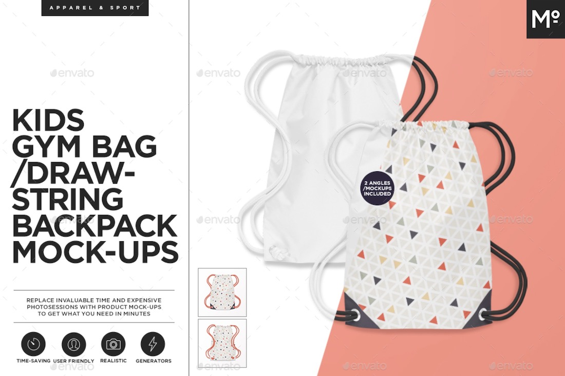 kids gym bag mockup