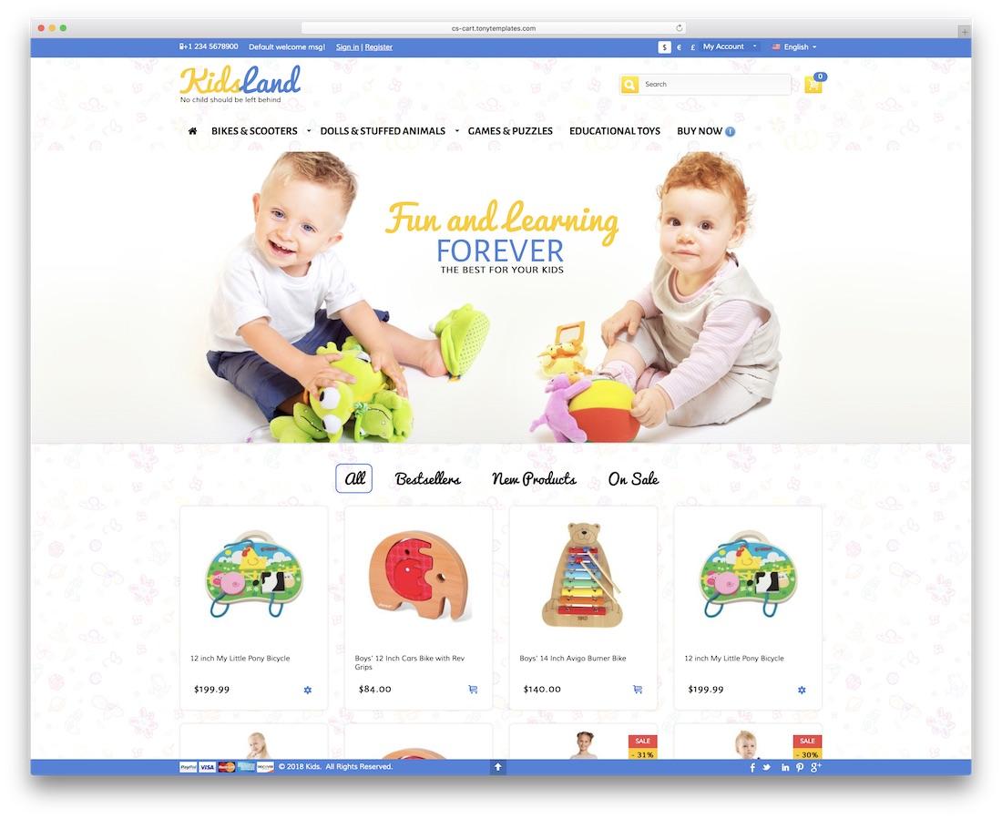 kids land cs-cart template