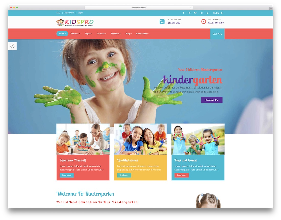 kids pro school website template