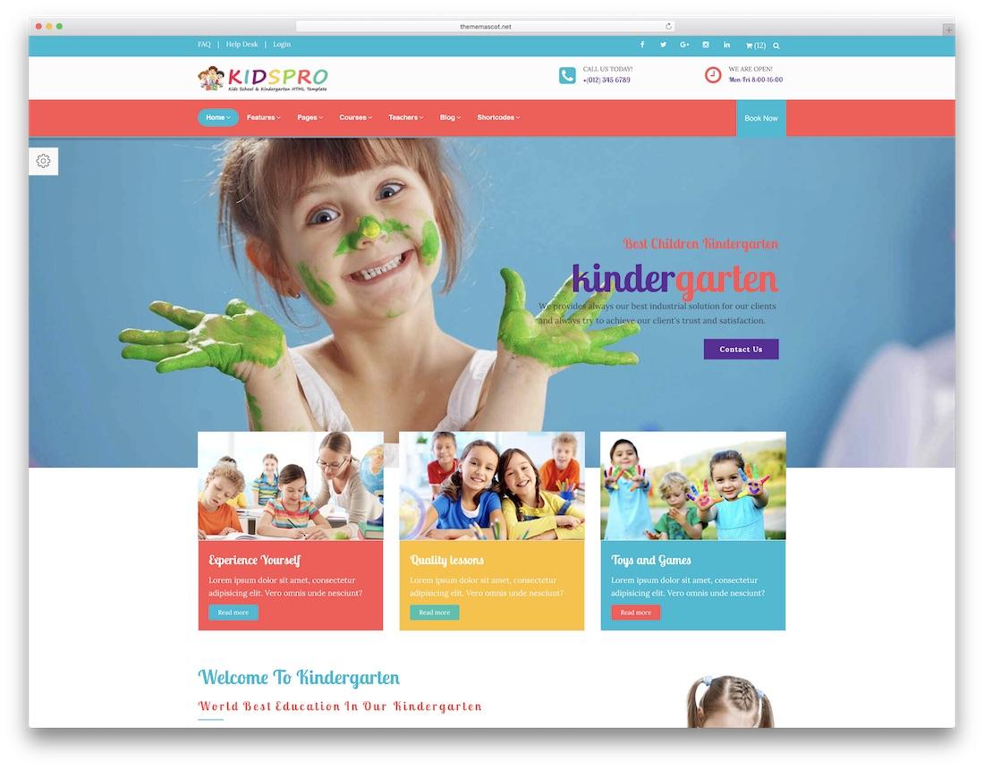 키즈 프로 학교 웹 사이트 템플릿