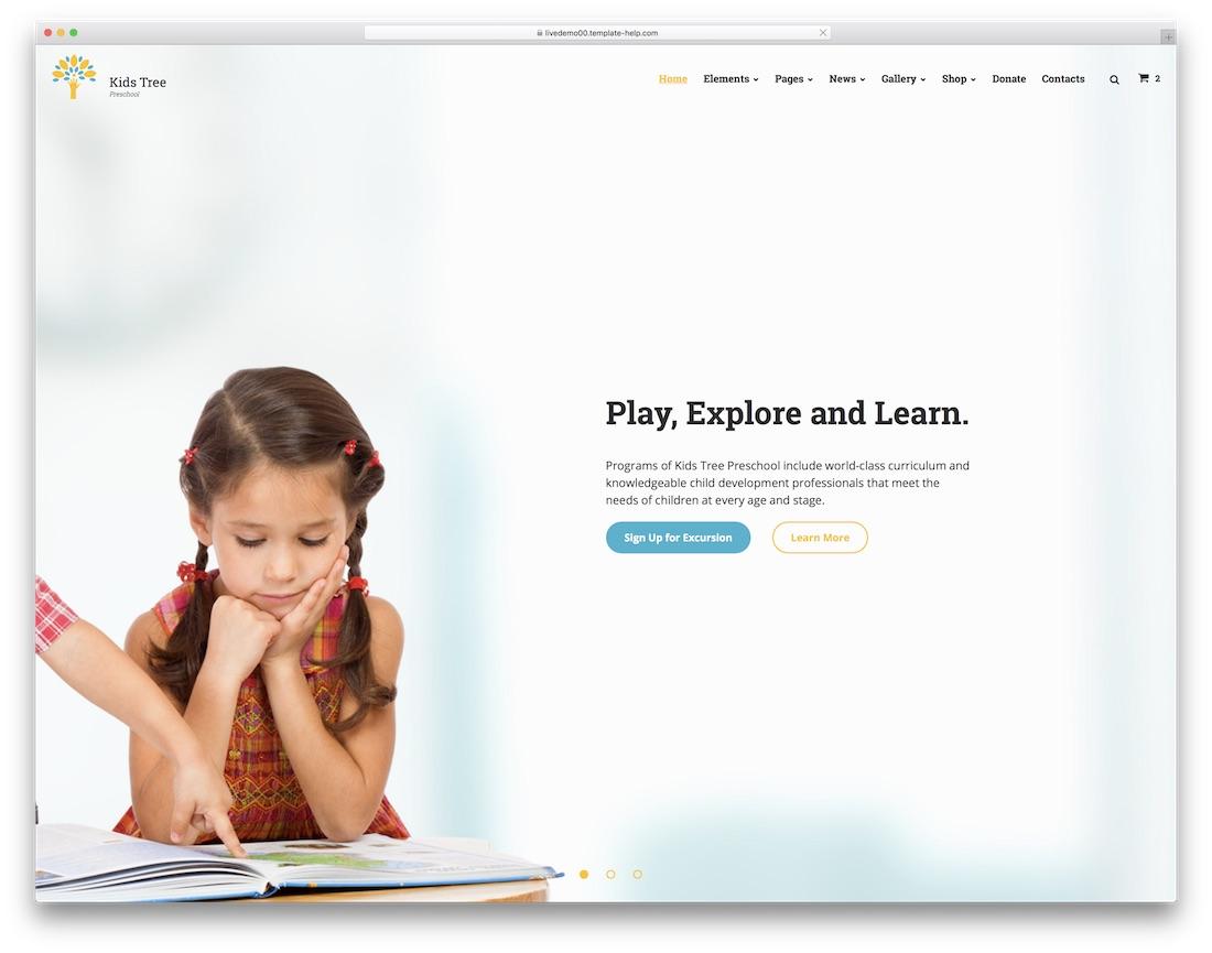 kids tree website template