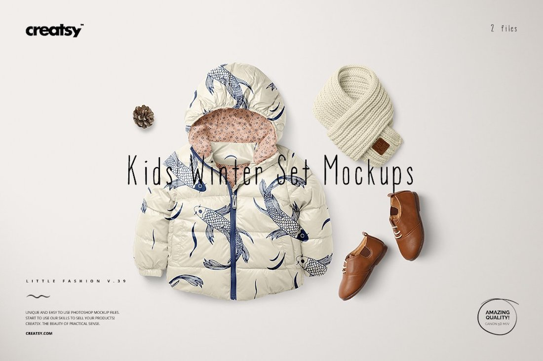 kids winter set mockups