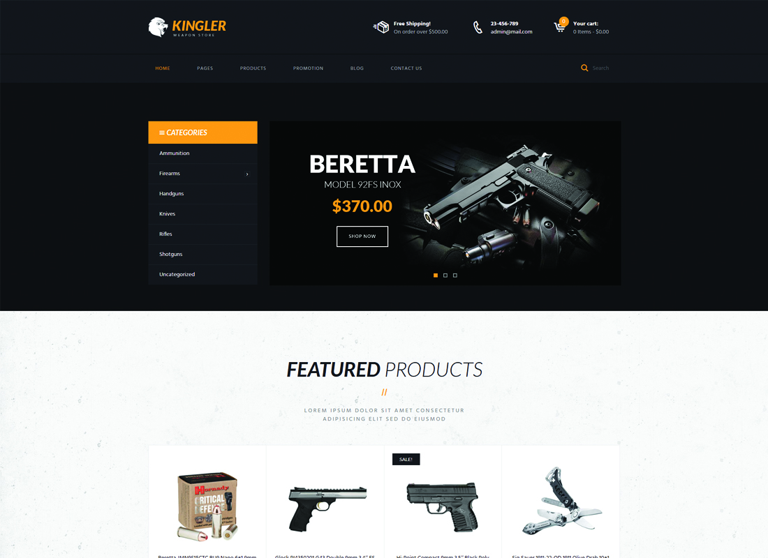 Kingler - Weapon Store & Gun Training WordPress Theme