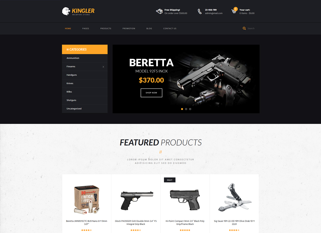 Kingler - Weapon Store & Gun Training WordPress Theme
