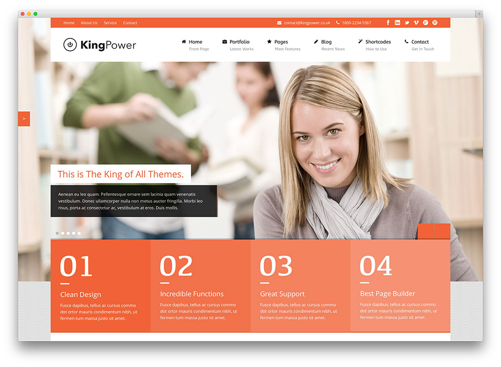 kingpower multipurpose organization theme