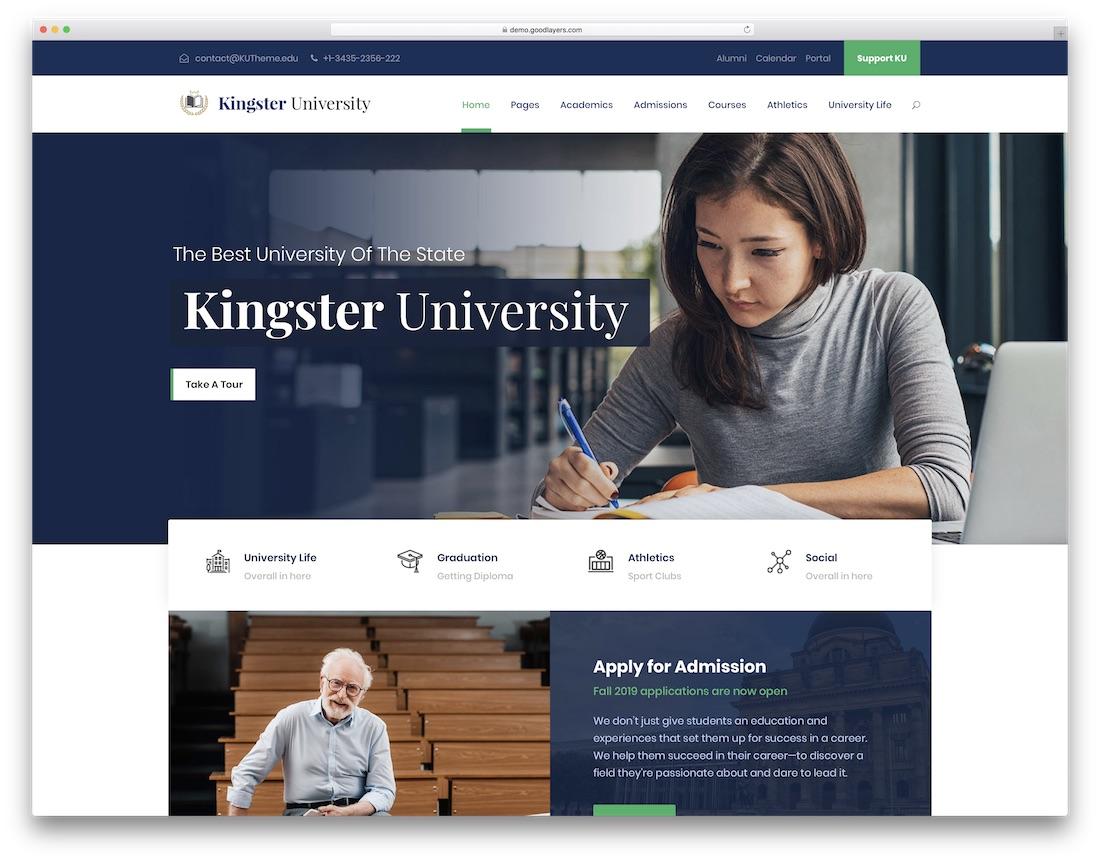 kingster best education wordpress theme
