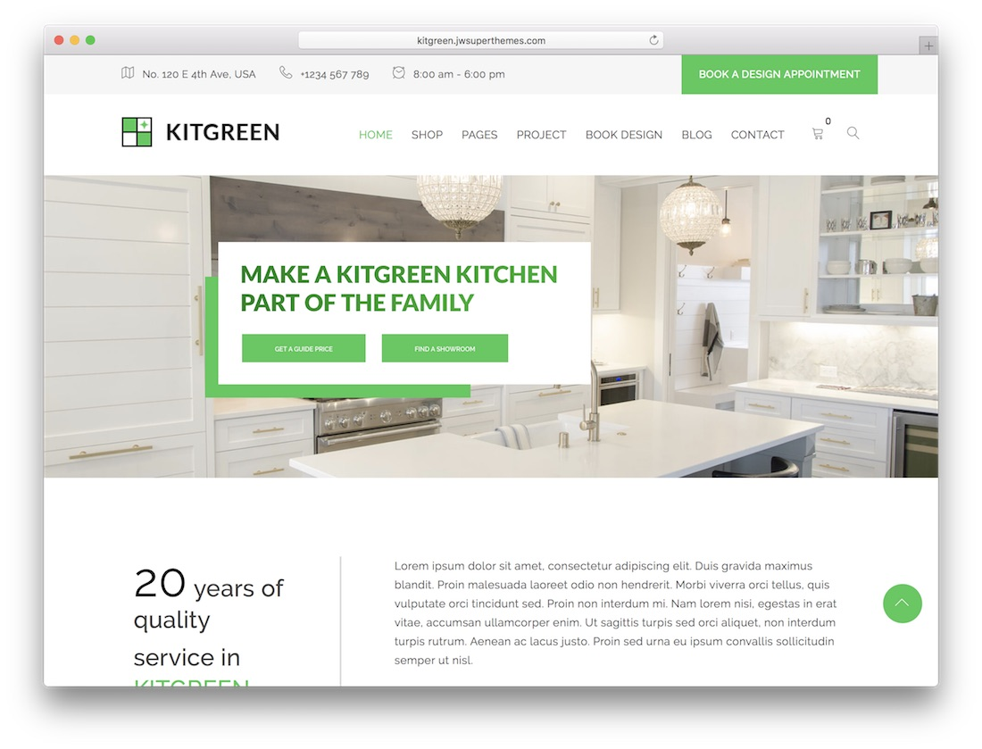 kitgreen interior design wordpress theme