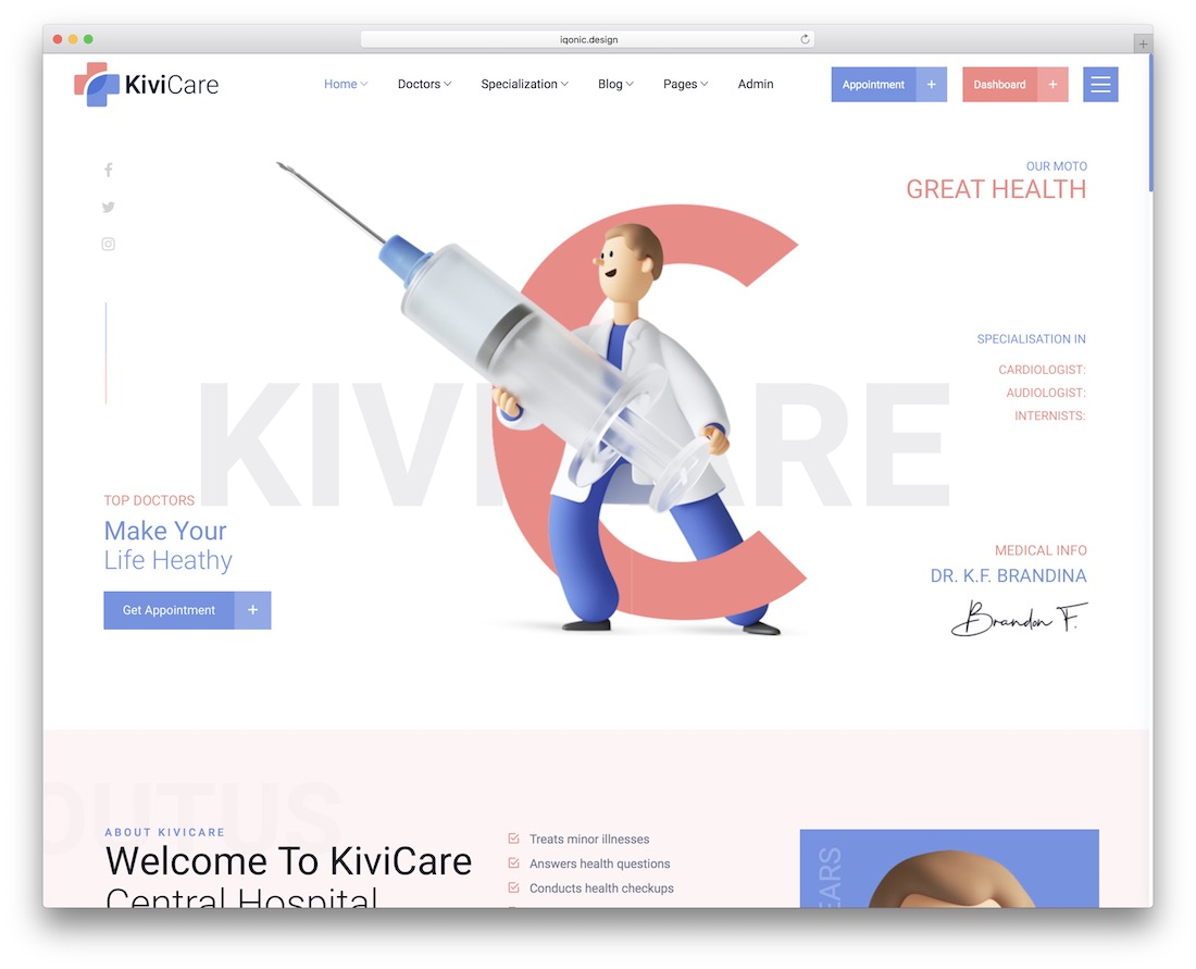 kivicare appointment booking theme