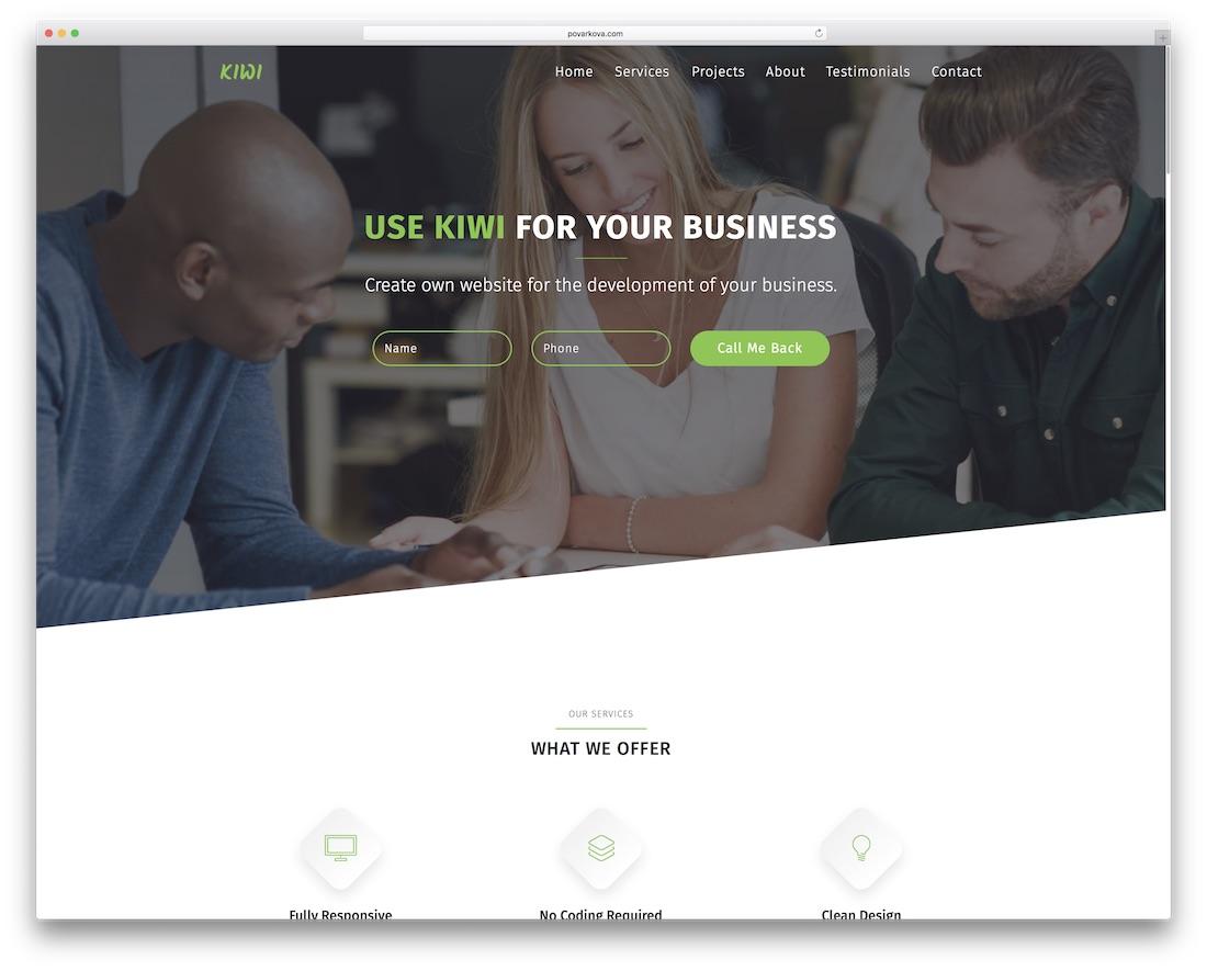 kiwi startup adobe muse template