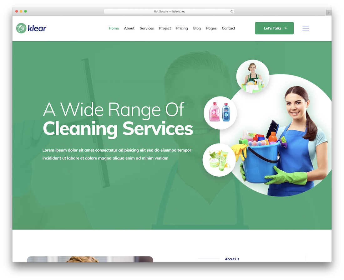 klear cleaning company theme