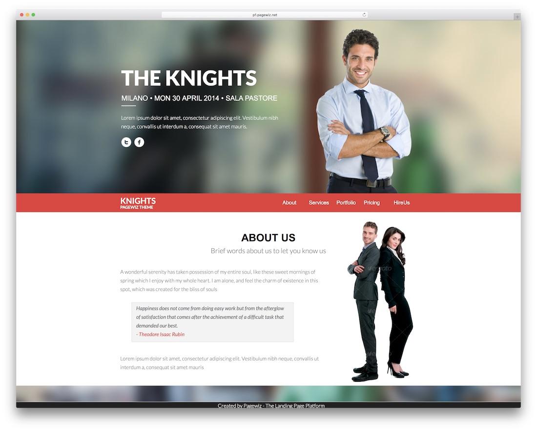 knights pagewiz marketing template