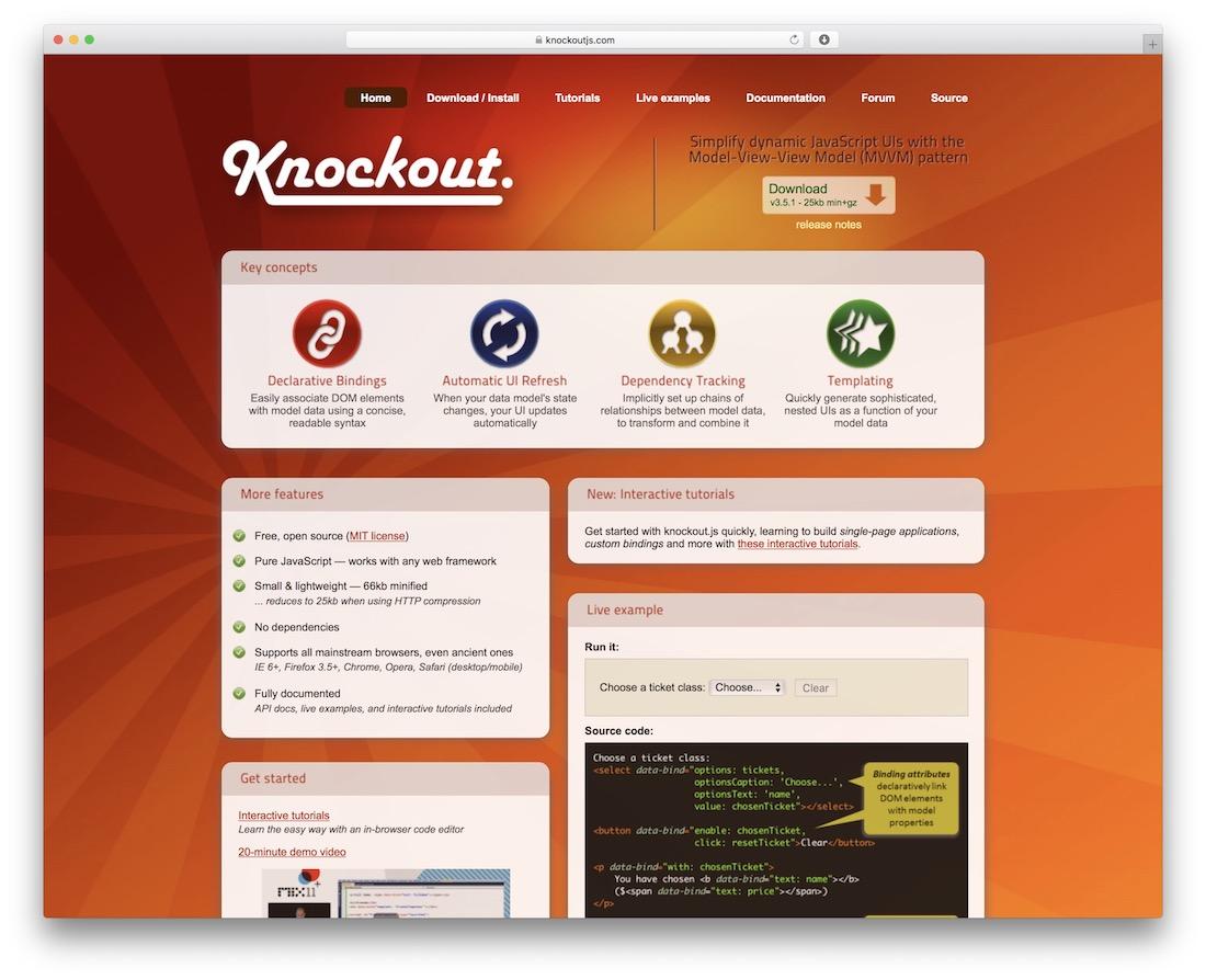 knockout javascript framework