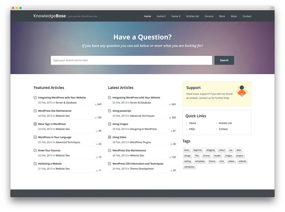 knowledge base amazing tech suppport theme