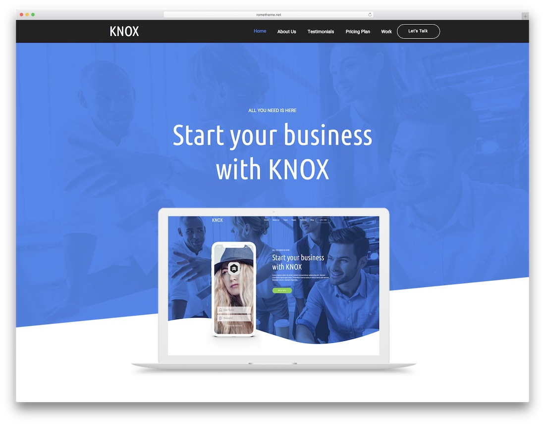 knox adobe muse landing page template