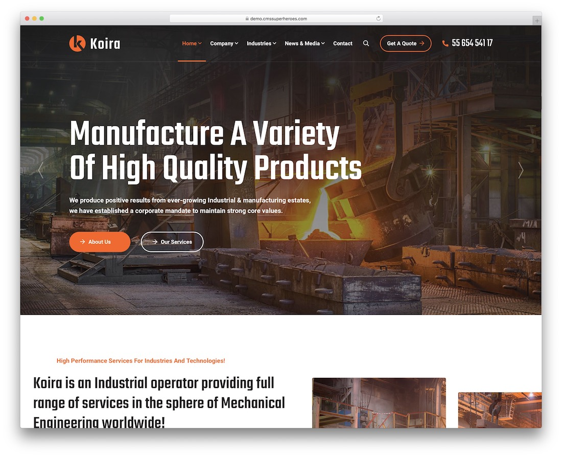koira construction company wordpress theme