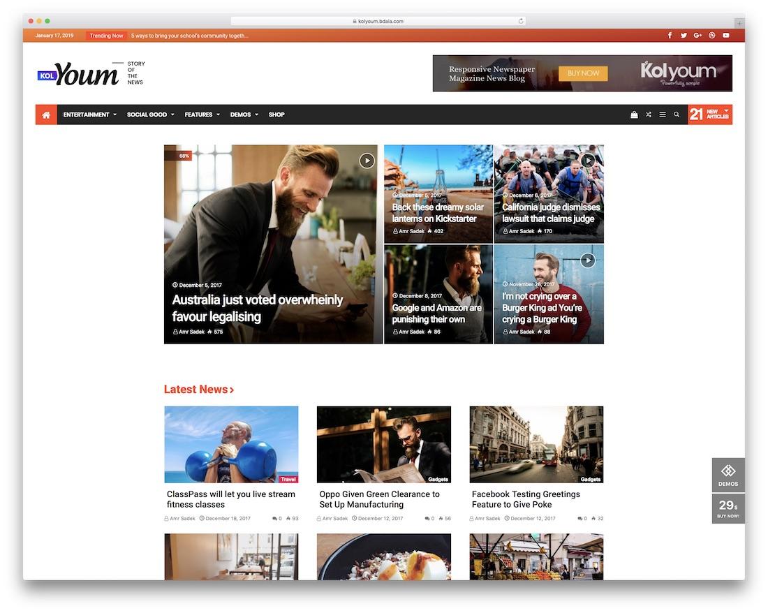 kolyoum adsense optimized wordpress theme