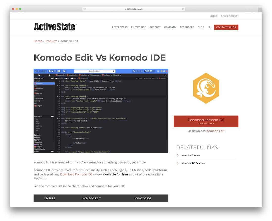 komodo edit code editor for web designers