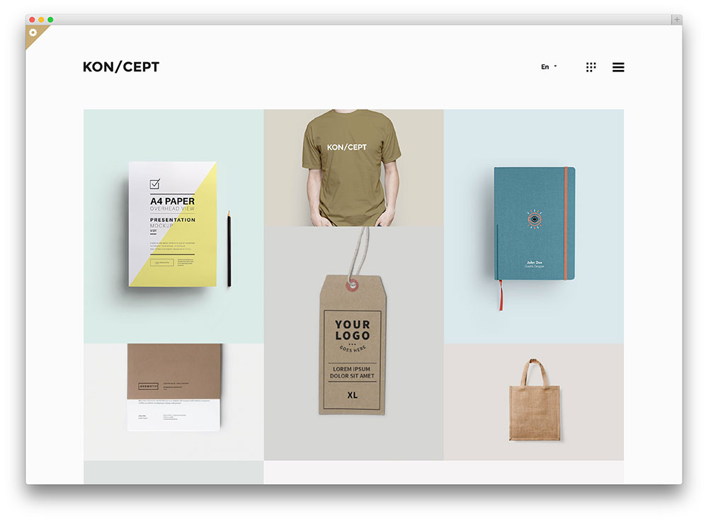 koncept innovative minimal portfolio theme