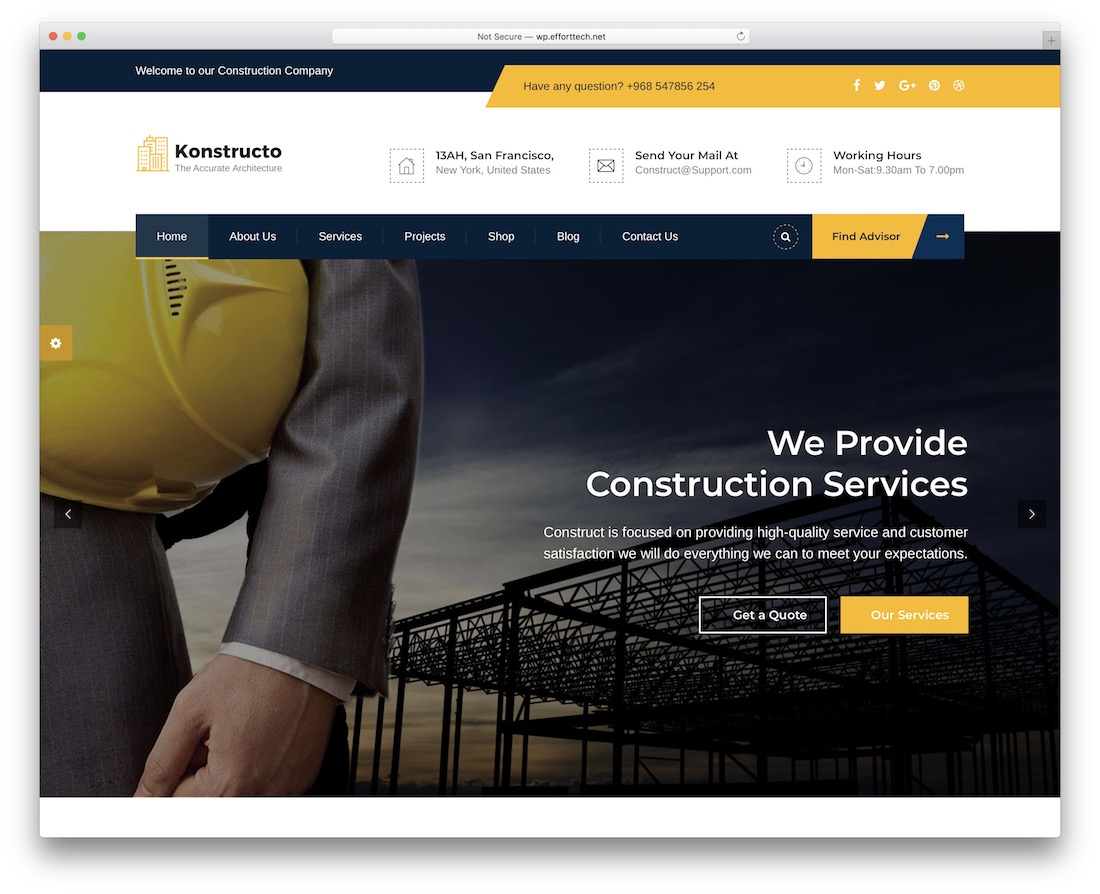 konstructo construction company wordpress theme