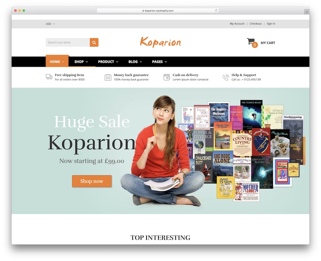 koparion shopify bookstore theme