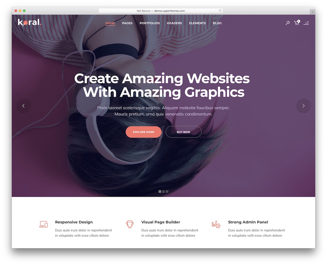 koral multipurpose website template