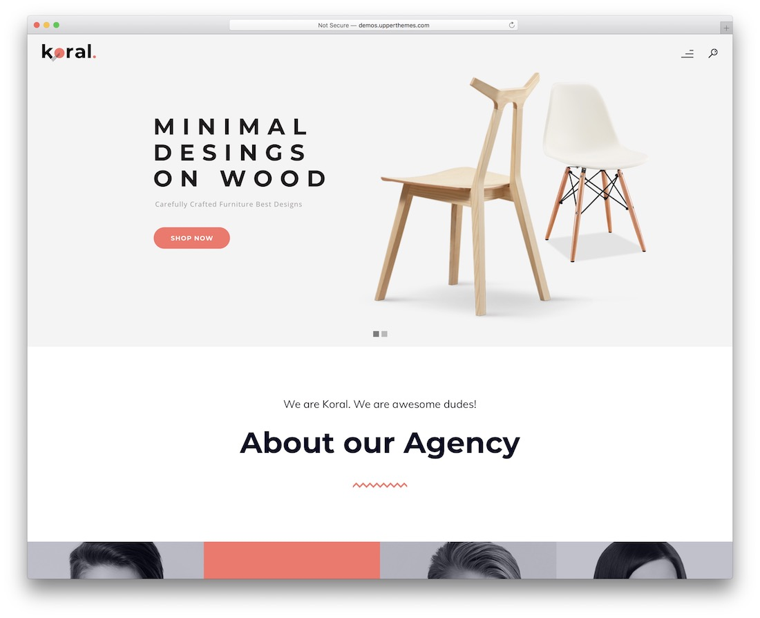 koral one page website template