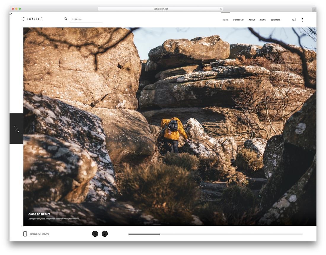 kotlis fullscreen website template