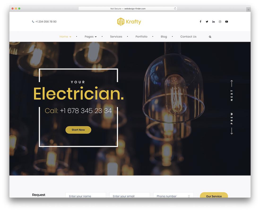 krafty electrician website template