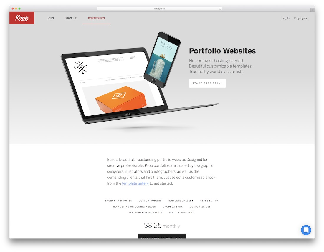 krop best portfolio website builder