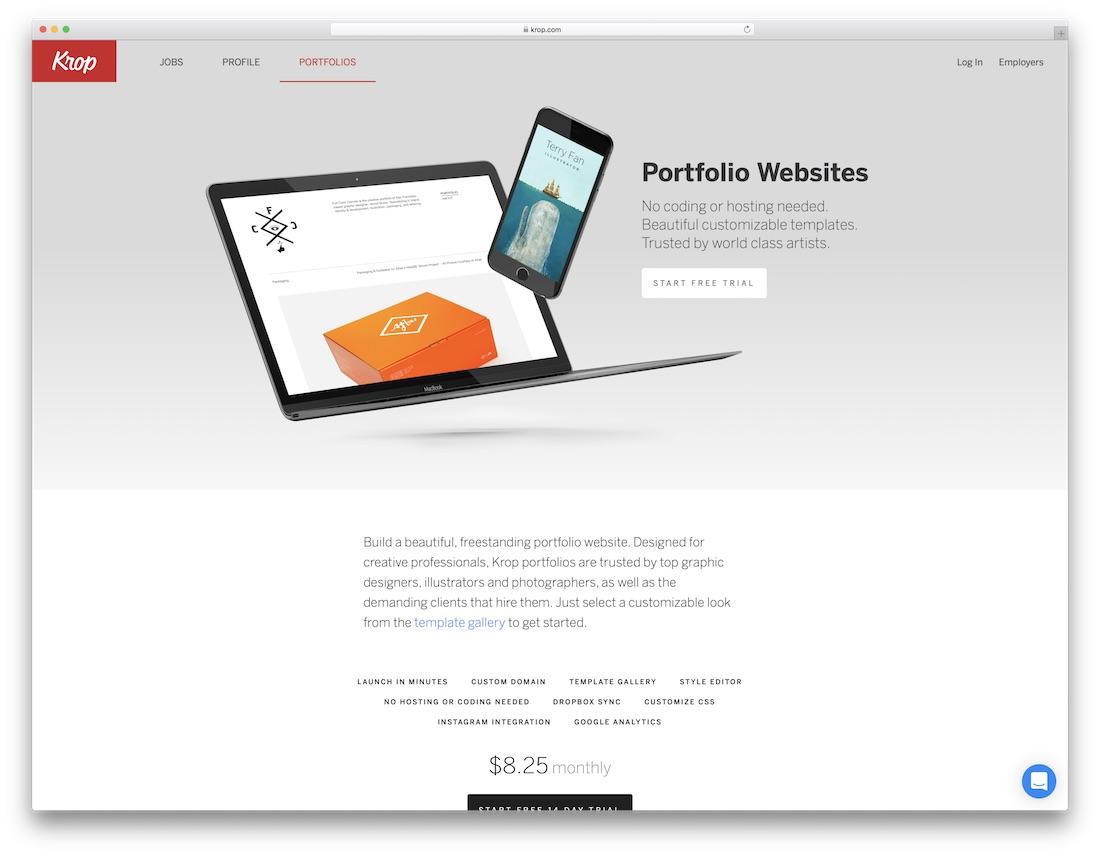 krop best website builder for artists