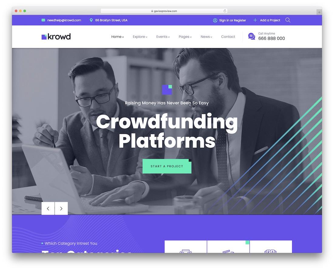 krowd crowdfunding wordpress theme