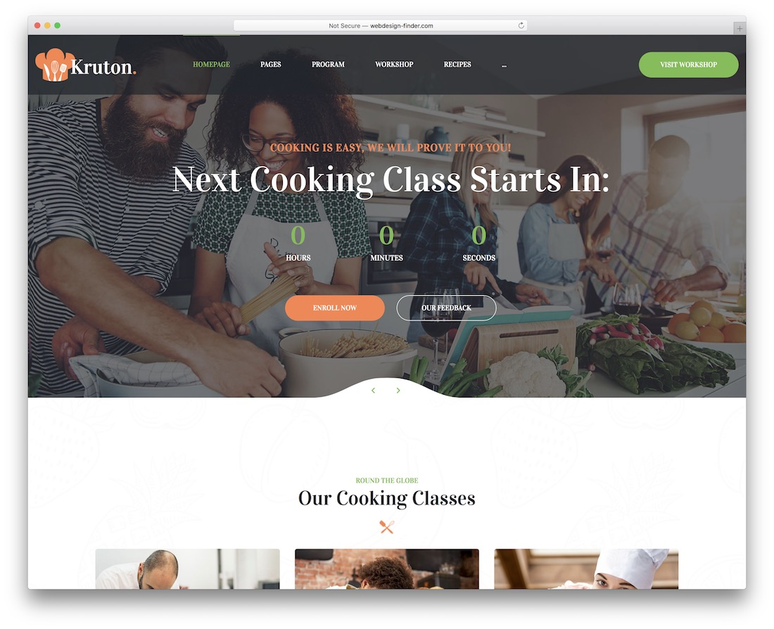 kruton wordpress theme for bakeries