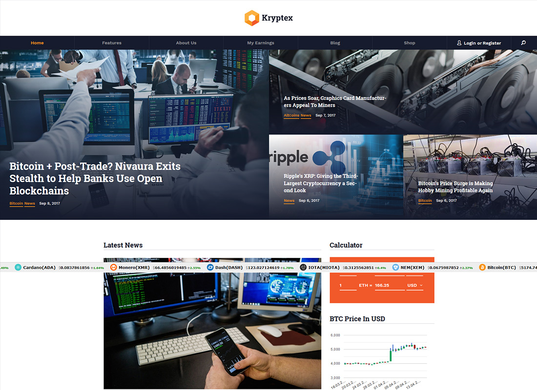 Kryptex | Cryptocurrency & Mining WordPress Theme