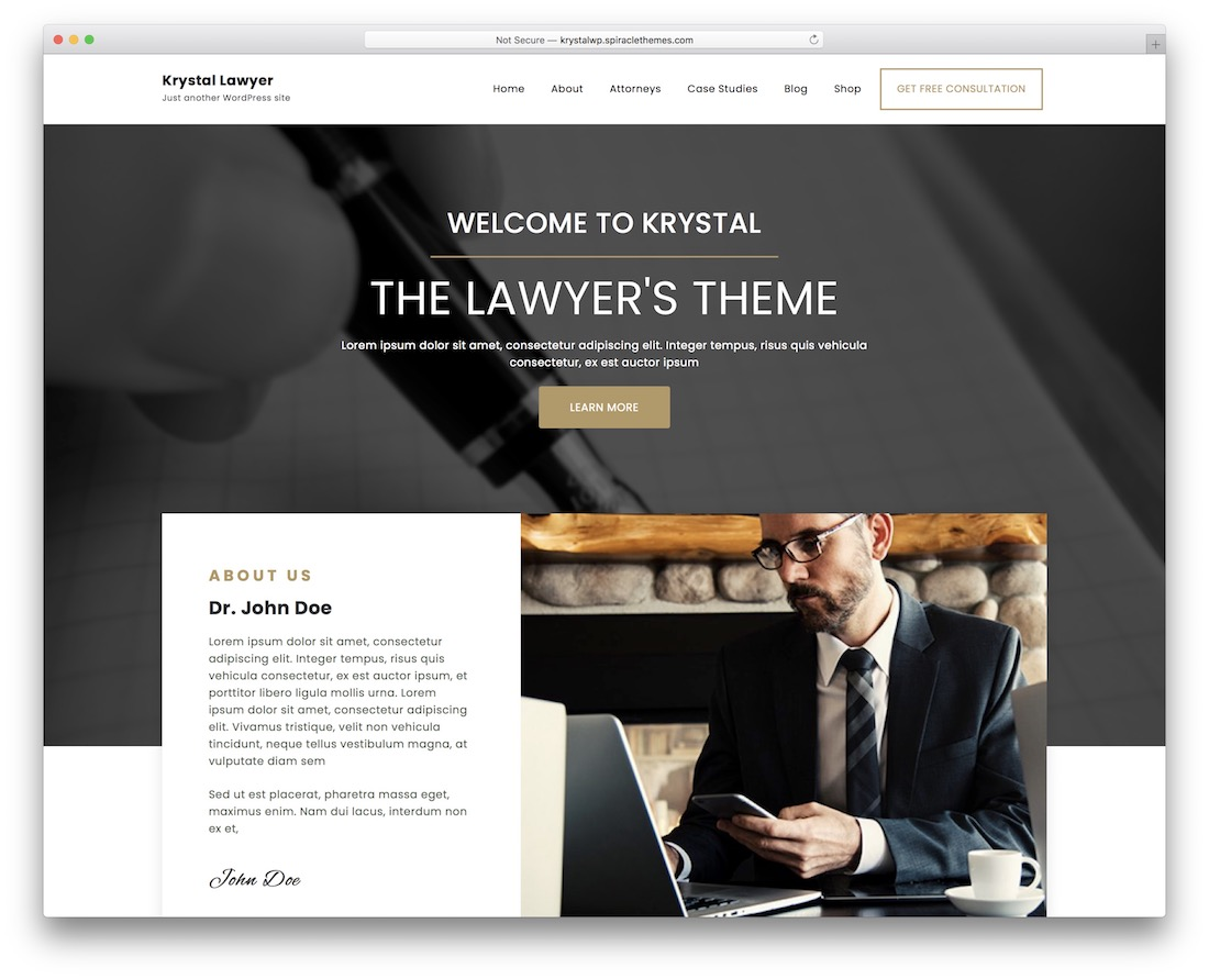 krystal lawyer free wordpress theme