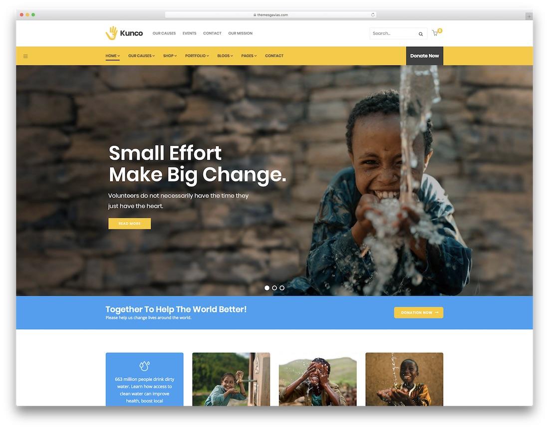 kunco fundraising wordpress theme