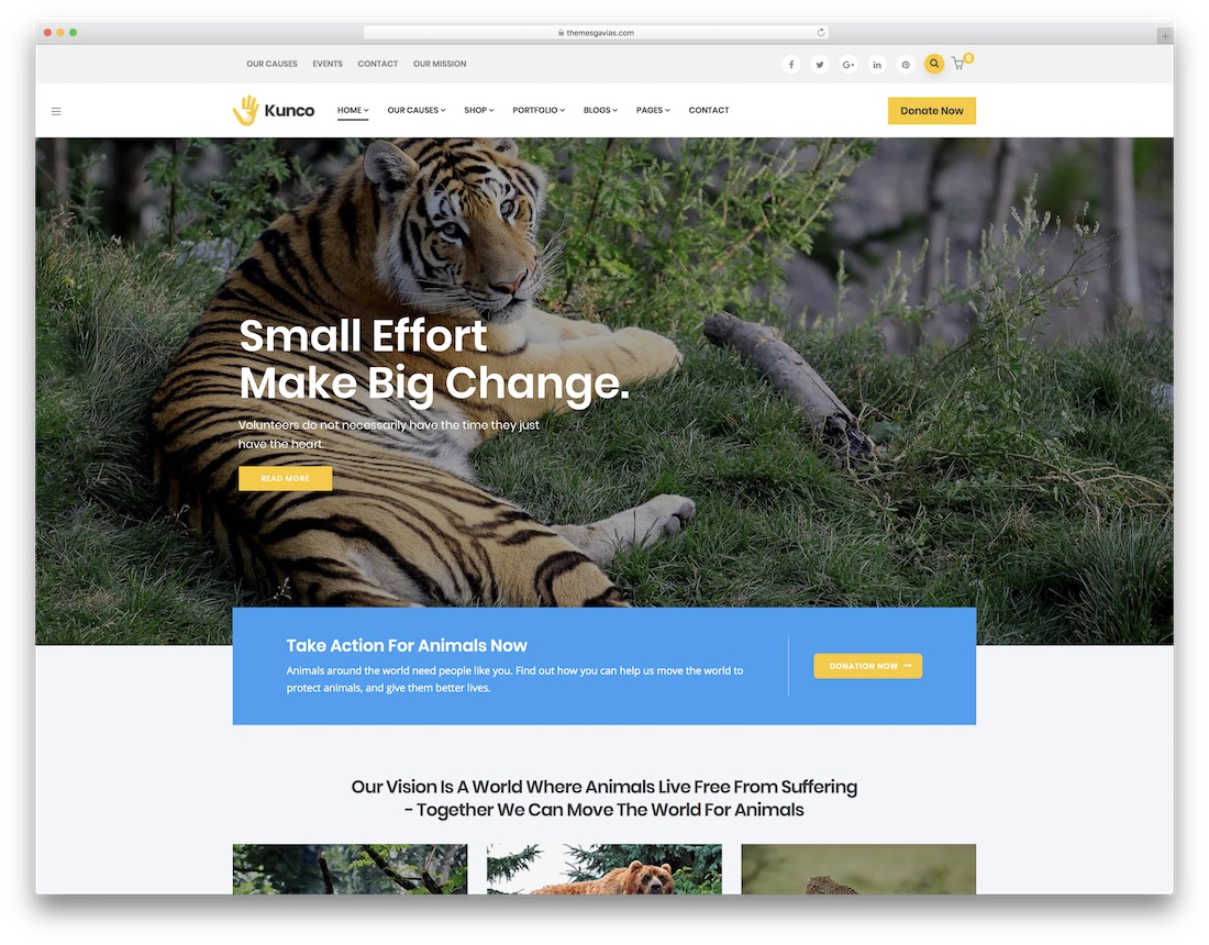 kunco wordpress theme for non profit charity organizations