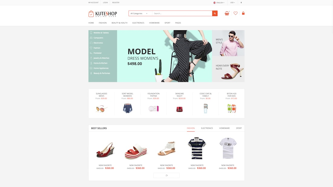 kuteshop ecommerce website template