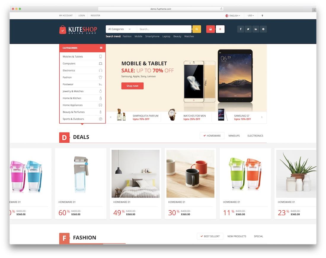 kuteshop ecommerce website template