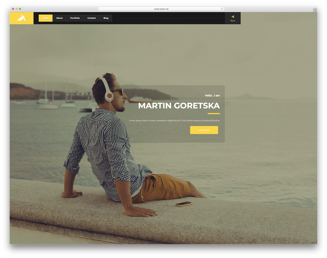 kvest bootstrap personal website template